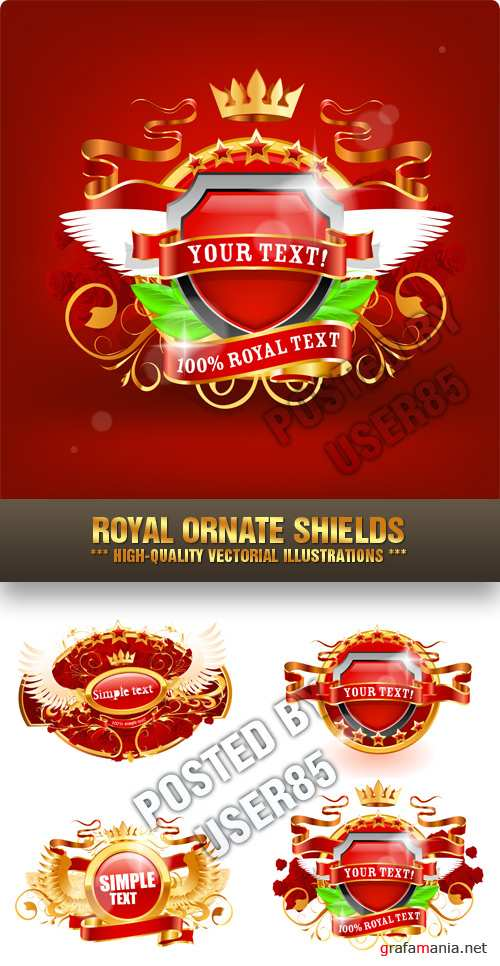 Stock Vector - Royal Ornate Shields