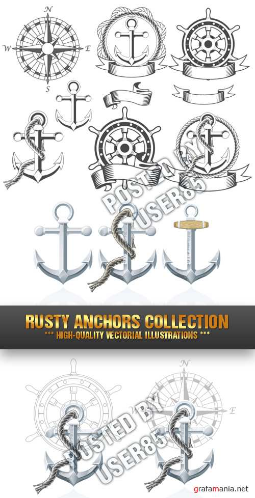 Stock Vector - Rusty Anchors Collection
