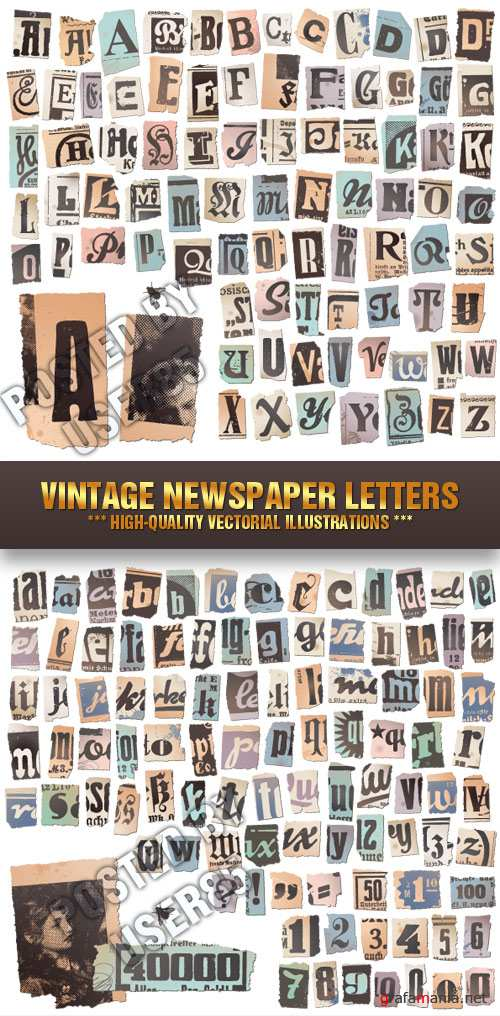 Stock Vector - Vintage Newspaper Letters