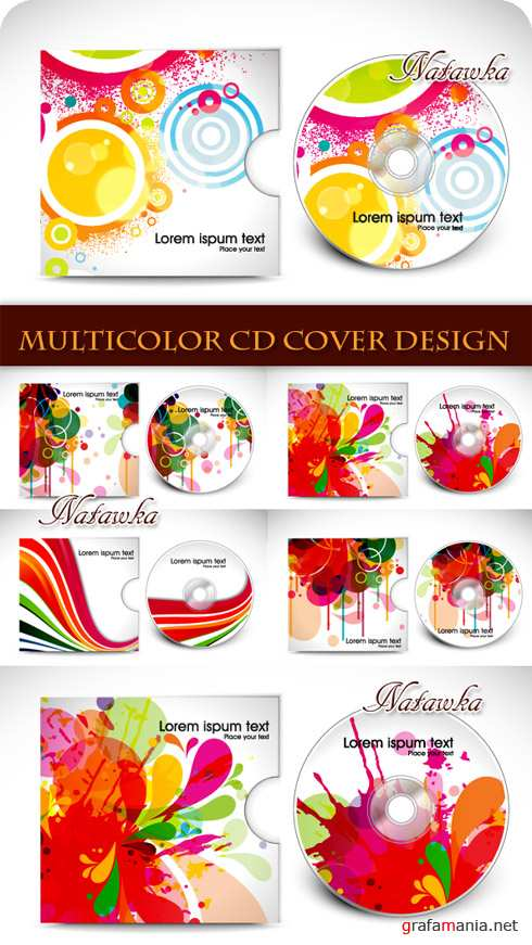 ��������� ������� ��� ������. Multicolor CD Cover Design - Stock Vectors