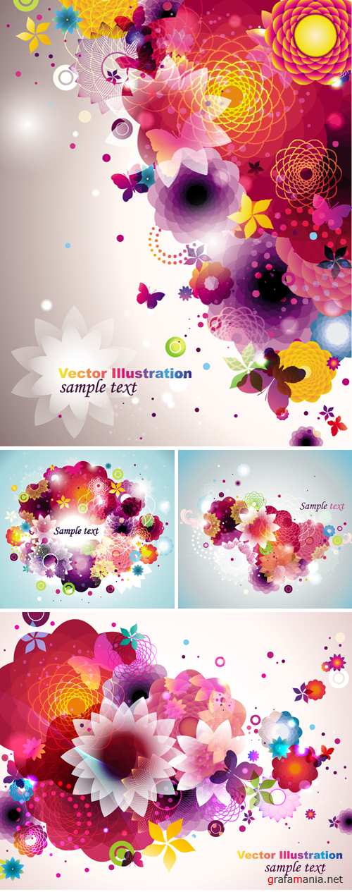 Floral Spring Backgrounds Vector
