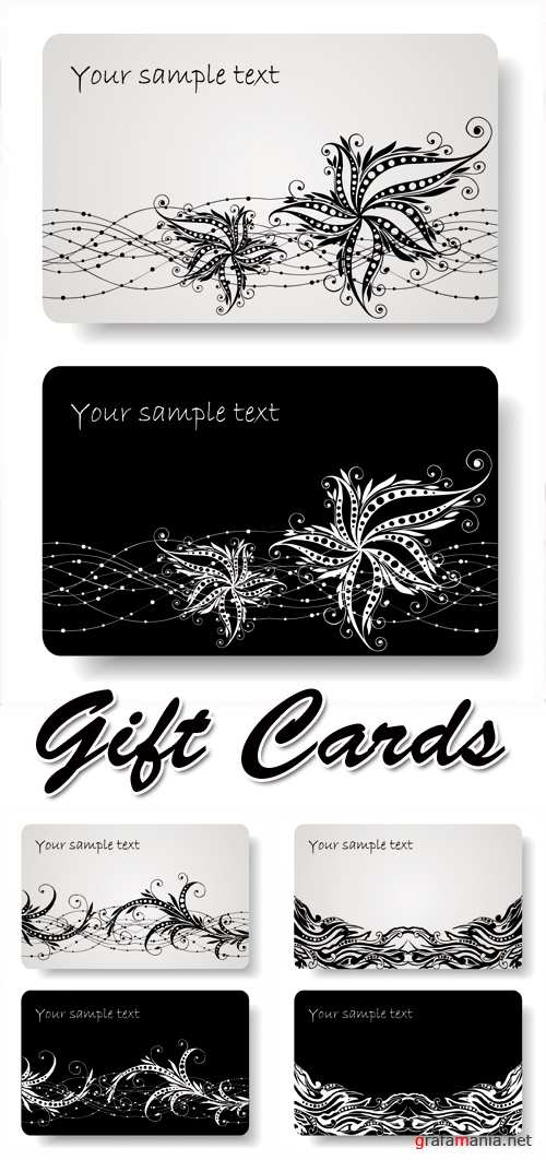 Black White Gift Cards Vector