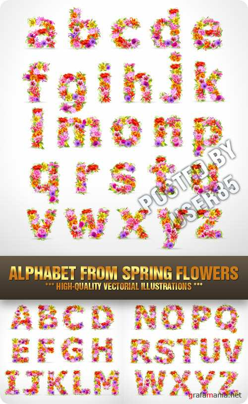 Stock Vector - Alphabet From Spring Flowers