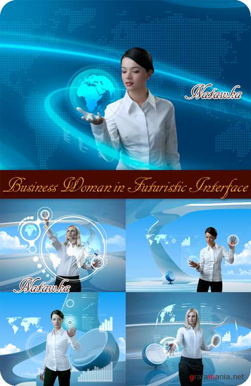 Business Woman in Futuristic Interface - Stock Photos