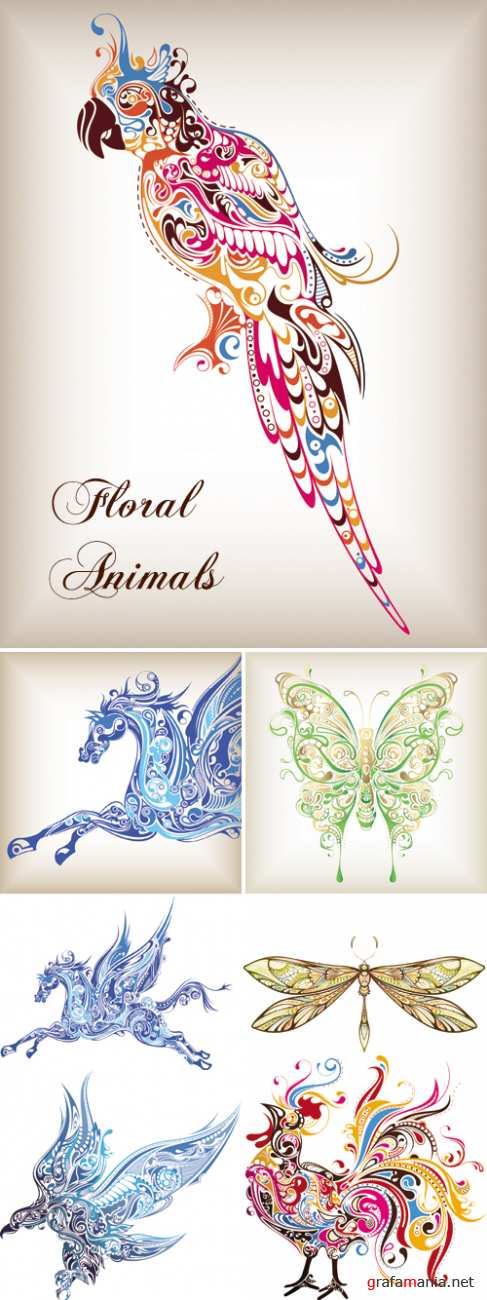 Floral Animals Vector