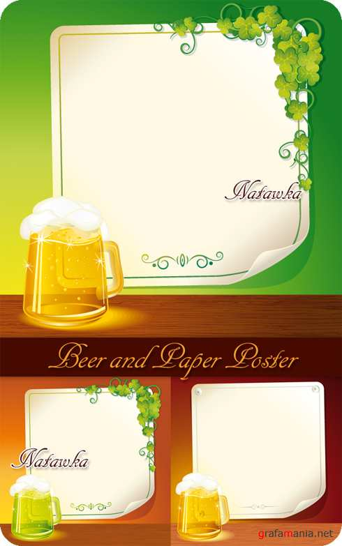 Beer and Paper Poster - Stock Vectors