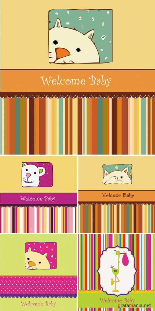 Baby Birth Announcement Cards Vector