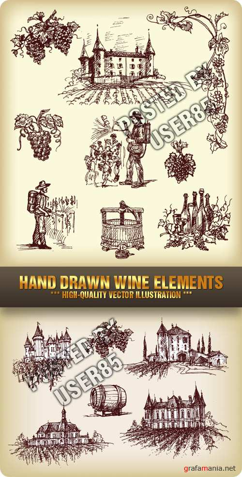 tock Vector - Hand Drawn Wine Elements