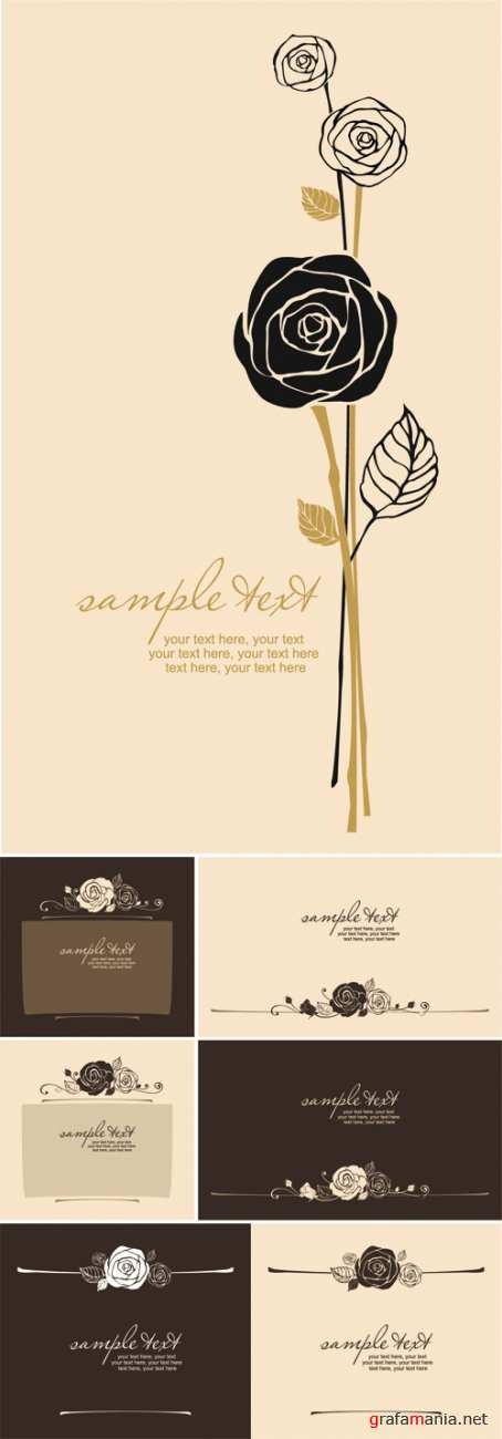 Elegant Cards with Roses Vector