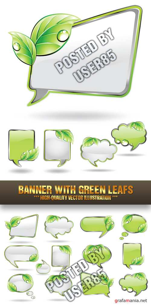 Stock Vector - Banner with Green Leafs