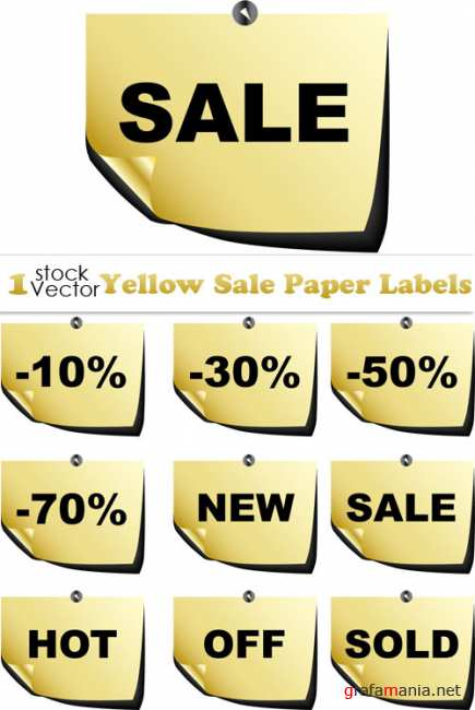 Yellow Sale Paper Labels Vector