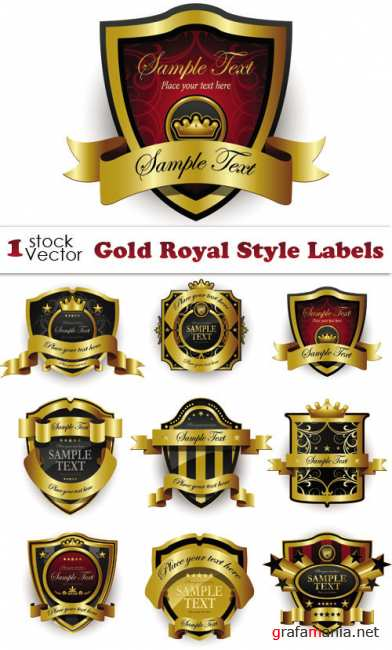 Gold Royal Style Labels Vector
