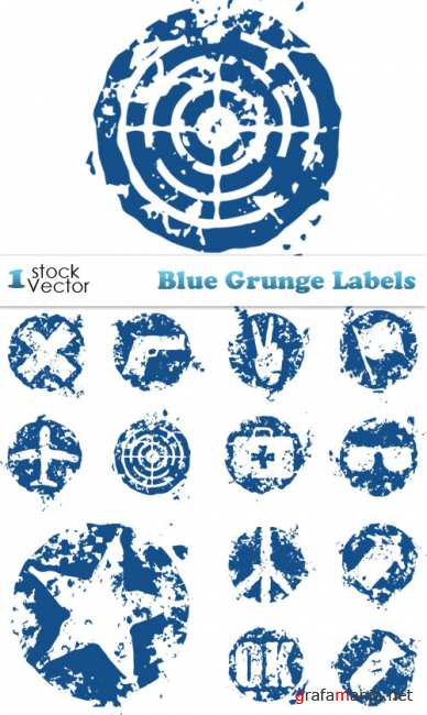 Blue Grunge Labels Vector