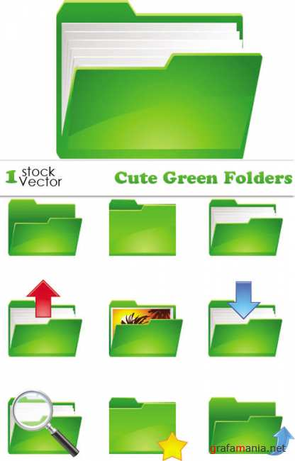 Cute Green Folders Vector