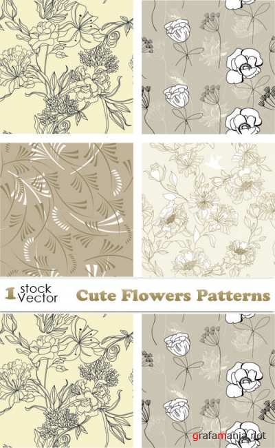 Cute Flowers Patterns Vector