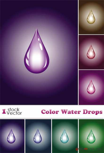 Color Water Drops Vector
