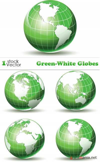 Green-White Globes Vector