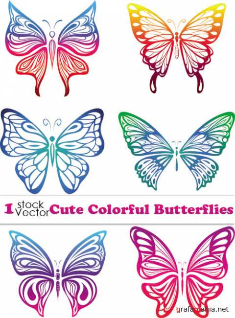 Cute Colorful Butterflies Vector