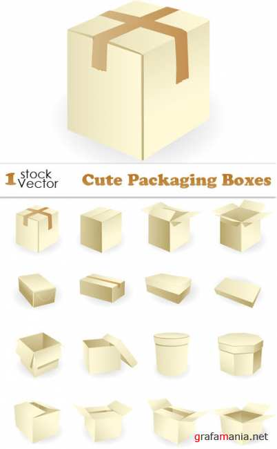Cute Packaging Boxes Vector