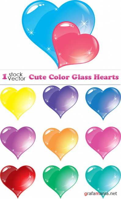 Cute Color Glass Hearts Vector