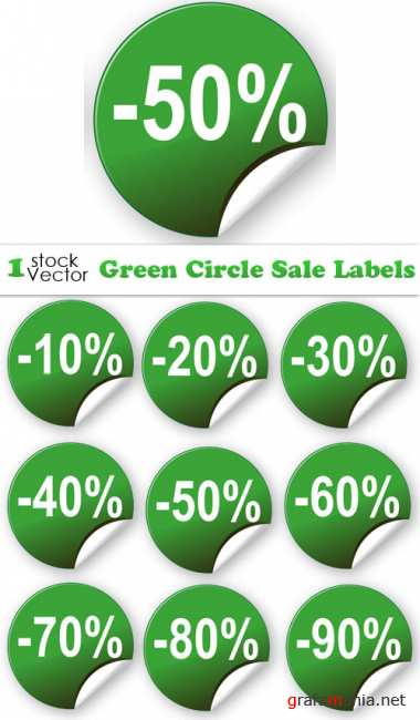 Green Circle Sale Labels Vector