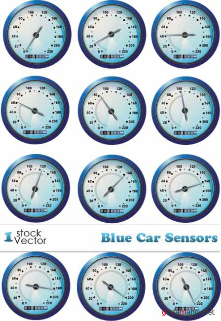 Blue Car Sensors Vector