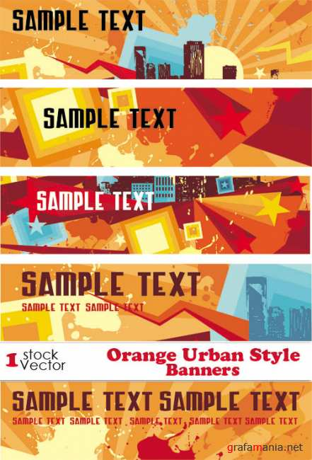 Orange Urban Style Banners Vector