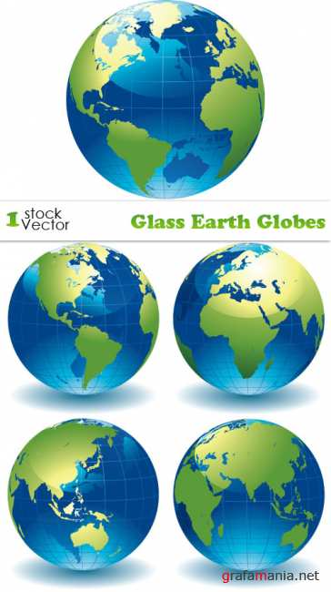 Glass Earth Globes Vector