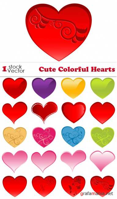 Cute Colorful Hearts Vector