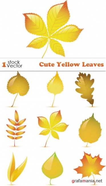 Cute Yellow Leaves Vector