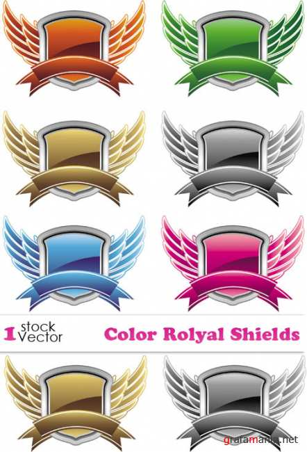 Color Rolyal Shields Vector