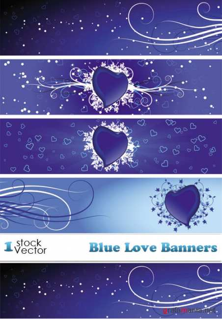 Blue Love Banners Vector
