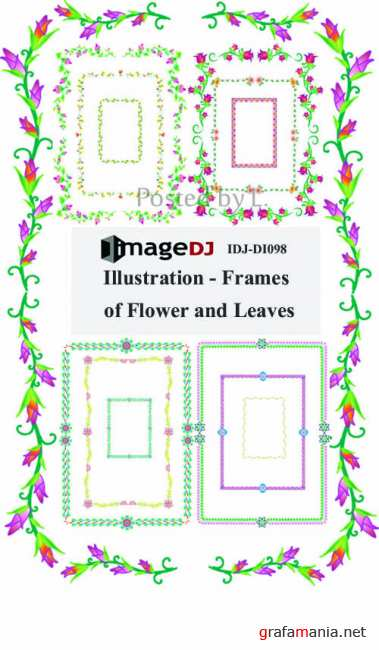 Illustration-Frames of Flowers and Leaves