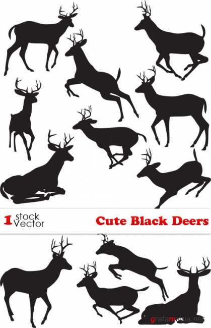Cute Black Deers Vector