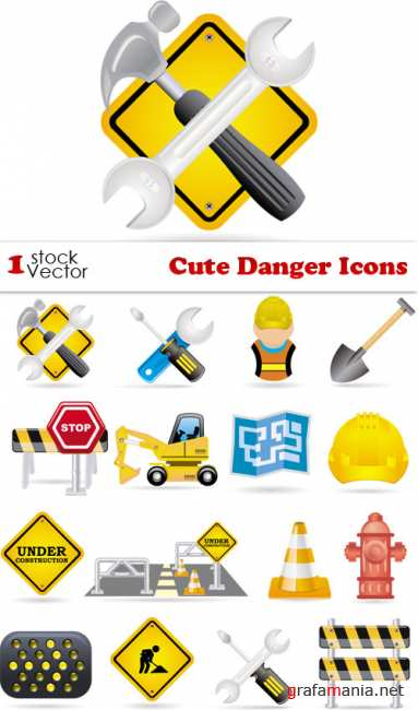 Cute Danger Icons Vector