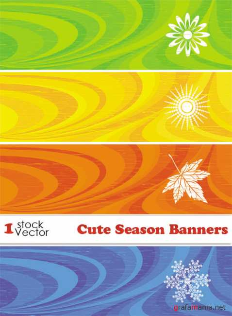 Cute Season Banners Vector