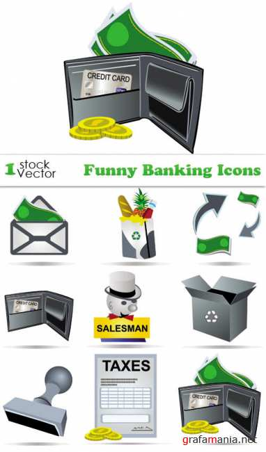 Funny Banking Icons Vector