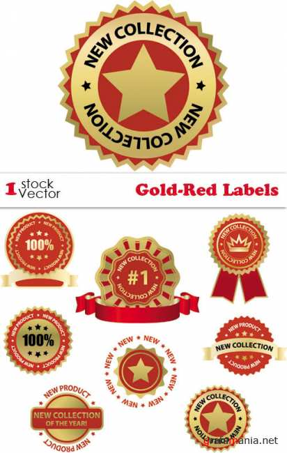 Gold-Red Labels Vector
