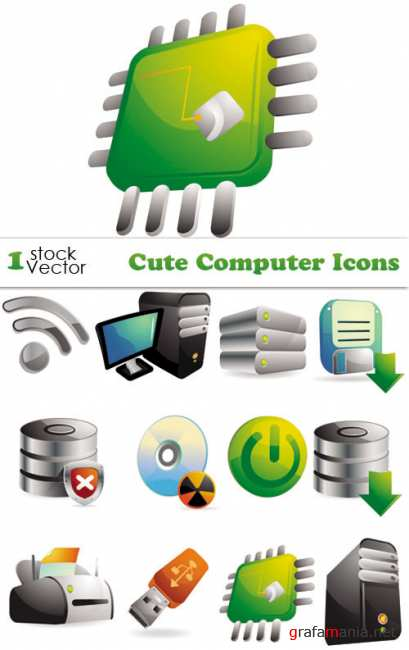Cute Computer Icons Vector