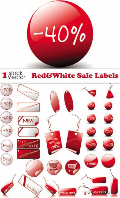 Red&White Sale Labels Vector