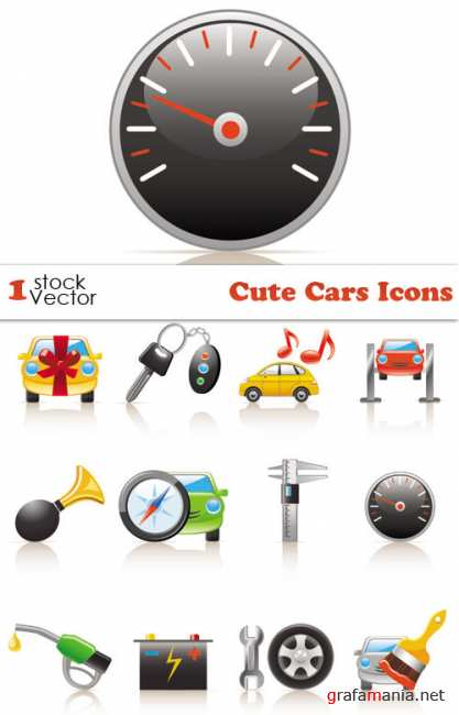 Cute Cars Icons Vector