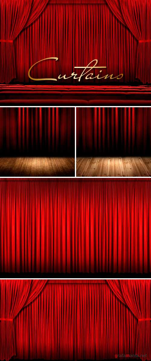 Stock Photo - Red Curtains | Красные занавеси