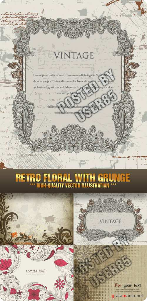 Stock Vector - Retro Floral with Grunge