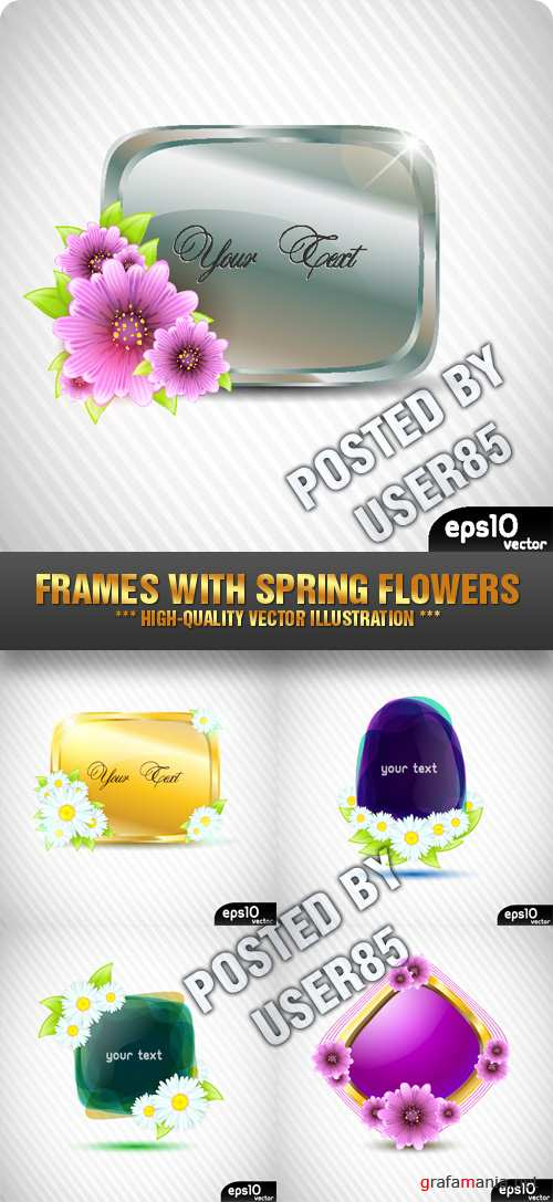 Stock Vector - Frames with Spring Flowers