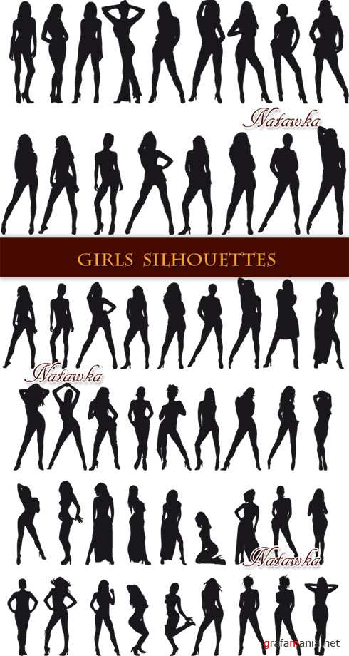 Girls silhouettes - Stock Vectors