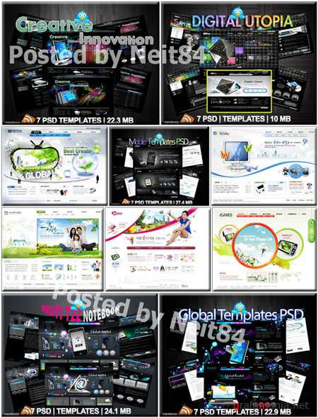 Mutil Global Internet Digital Creative PSD Templates Website