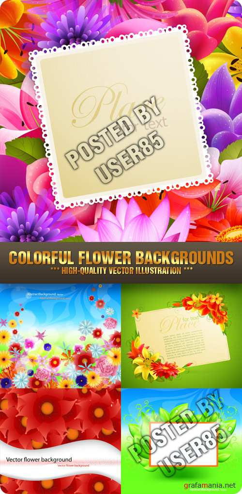 Stock Vector - Colorful Flower Backgrounds