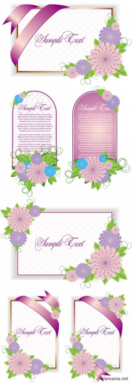 Pink Greeting Cards Vector