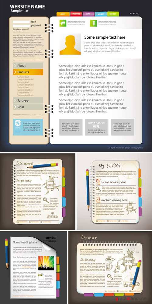 Website Templates Notepad Style Vector