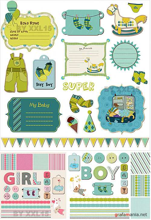 Baby scrapbook design elements